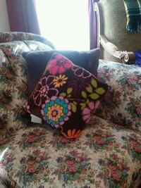 brown and pink floral throw pillow Stoughton, 02072