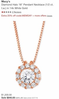 Diamond halo necklace Nashua, 03060