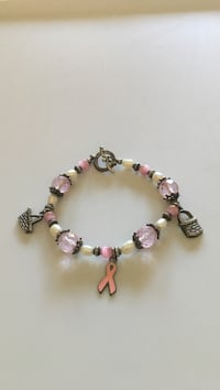 Hope bracelet with pink crystal beads, sterling basket charms & pearls Bow, 03304