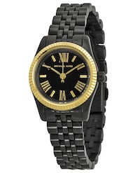 round black and gold analog watch with link bracelet 3127 km