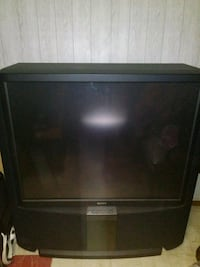 black CRT TV with remote New York