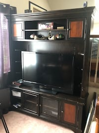 black flat screen TV with black wooden TV hutch Virginia Beach, 23454