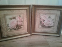 two brown wooden framed paintings of flowers