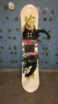 white and multicolored snowboard with black bindings Ottawa, K1G