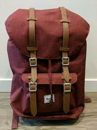 Hershel red and brown leather backpack Kent, 98032