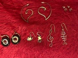 All 5 Pairs earrings & 4 necklaces for $40  Earring, 5 pairs......$20 Necklaces......$15 each Condition: Like New