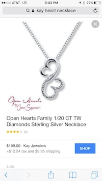 Open Hearts family CT TW diamonds sterling silver necklace screenshot Russellville, 42276