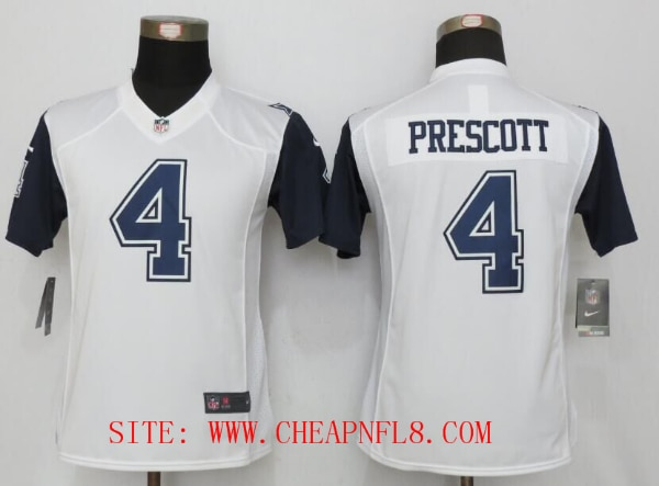 the latest 5df11 73dfc Womens Dallas Cowboys 4 Prescott White Stitched New Nike Limited Rush Jersey