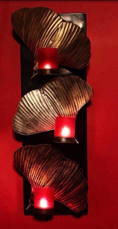 three gold shells framed candle sconce