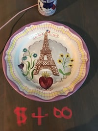 white, pink , and green Eiffel tower themed ceramic round decorative bowl
