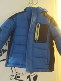 blue and black puffer jacket