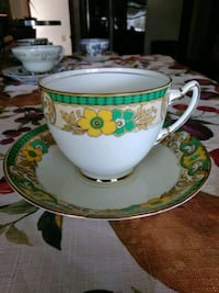 white and green ceramic teacup Parma, 44129