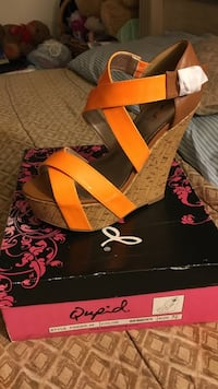 Brown and orange leather strappy open toe platform qupid wedge with box Baltimore, 21206