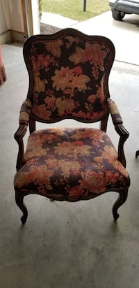 brown wooden frame red floral padded armchair Bowie, 20720