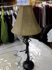 Table lamp with off white beuitifull shade.