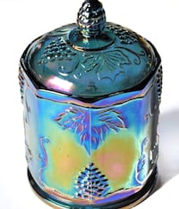 """Iridescent Indiana Blue Carnival Glass 7"""" Canister Covered Candy Jar - Harvest Grape Pattern  Crofton, 21114"""