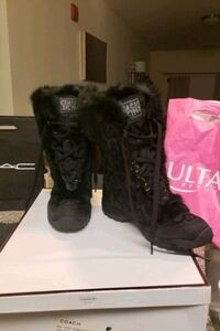 Coach Real Fur & Canvas Boots.