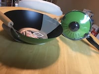 New green colored Wok and matching sauce pan. Las Vegas, 89118