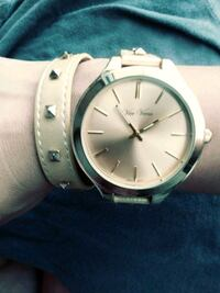 round silver-colored analog watch with link bracelet Visalia, 93292