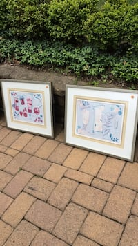 two white wooden framed paintings Tenafly, 07670