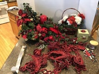 Lot of Christmas Decorations Floral Arrangement Ornaments Candles Manassas