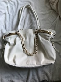 white leather 2-way handbag