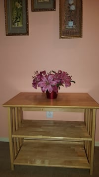 brown wooden table with two flower vases Houston, 77085