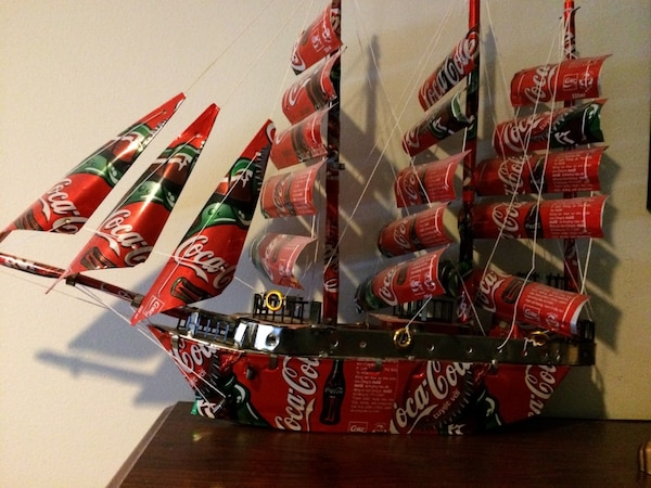 Coca-Cola themed galleon ship decor
