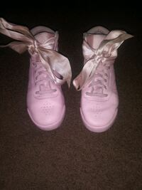 Lil Girls Pink Rose Reebok shoe with Ribbon