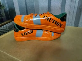 Custom caution cone sneakers size 9.5