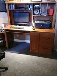 computer desk and cabinet