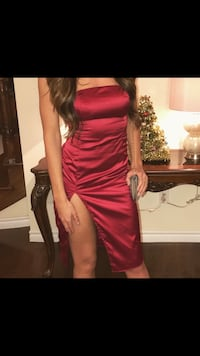 Satin Red Dress Vaughan