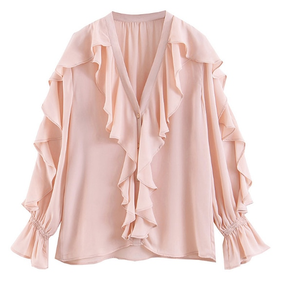 BOOPDO DESIGN V NECK OCEAN WHITENING RUFFLED SHIRT IN PINK bf4be8e0-c0f4-4216-a451-843ee703e3c1