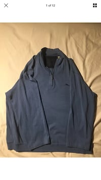 Tommy Bahama Authentic Blue Island Logo Crested Long Sleeve Zip Sweater SIZE XL London, N6G 2Y8