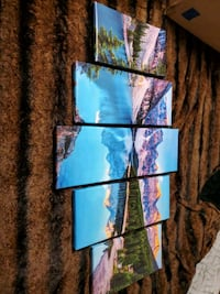 5 piece stretched mountain lake canvas