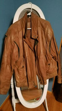 brown leather zip-up jacket 250 mi