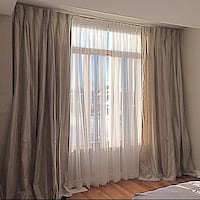Set of silk curtain panels with sheers
