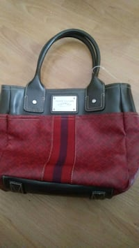 women's red leather Tommy Hilfiger tote bag 549 km