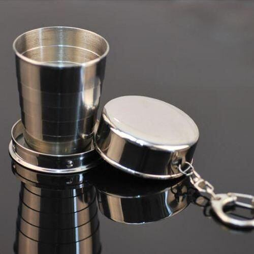 Steel Travel Telescopic Collapsible Shot Glass Emergency Pocket Cup e3f5b993-5458-4970-98f4-59d0a9d40fad