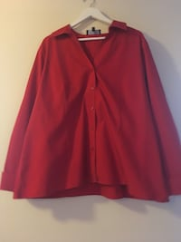 Red Long Sleeve Button Down Shirt