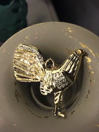 14k Gold Plated Rooster Pendant With Clear CZ