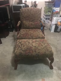 brown and red floral padded armchair College Park, 20740