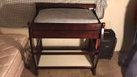 brown and white wooden nightstand