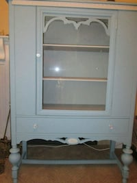Refinished Antique Blue & Cream China Cabinet Toronto