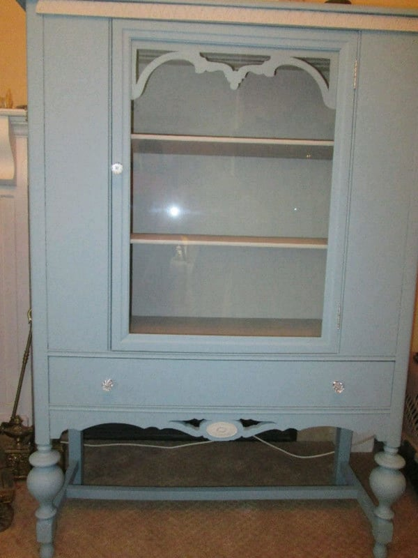 Refinished Antique Blue & Cream China Cabinet d46cfc60-9218-4c55-b596-40e20f071265