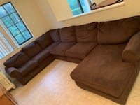 Brown suede sectional couch with ottoman 883 mi
