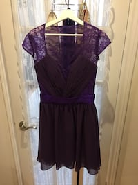 Purple Lace and Chiffon Midi Dress