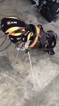 Black and orange golf bag with all original clubs that came with the bag. In good condition. Price is negotiable Westminster, 21157