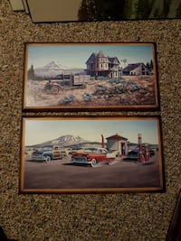 wooden house and gas station paintings with brown  Edmonton, T5T 6E2