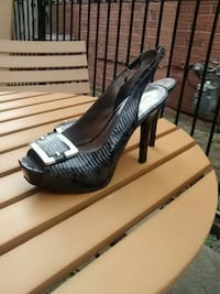 pair of gray leather peep-toe pumps Ajax, L1S 5W6